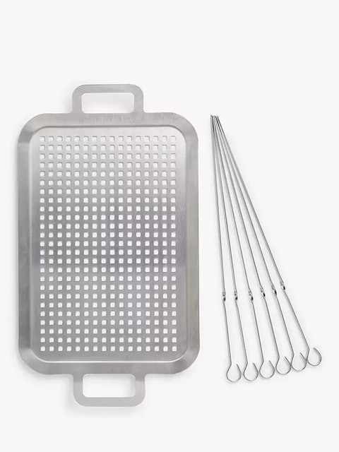 John Lewis & Partners Stainless Steel BBQ Grill Topper & 6 Skewers 1