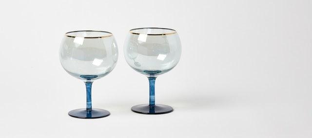Oliver Bonas Blue Lustre Gin Glasses  1