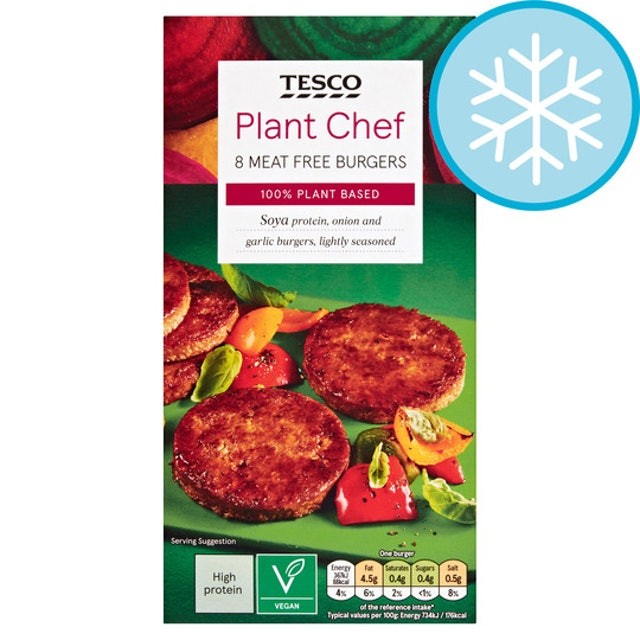 Tesco Plant Chef 8 Meat Free Burgers 1
