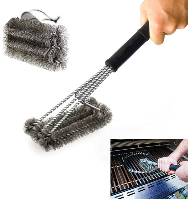 """Rayinblue 18"""" Triangle Metal BBQ Grill Cleaning Brush 1"""