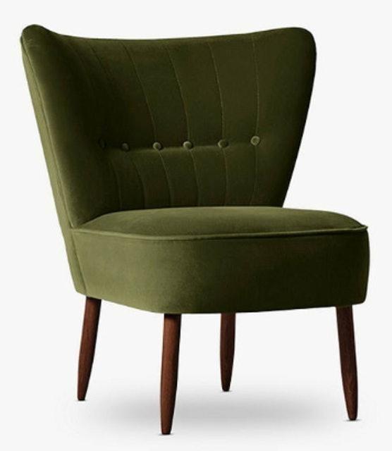 Swoon Editions Fitz Chair, Dark Leg, Fern Velvet 1