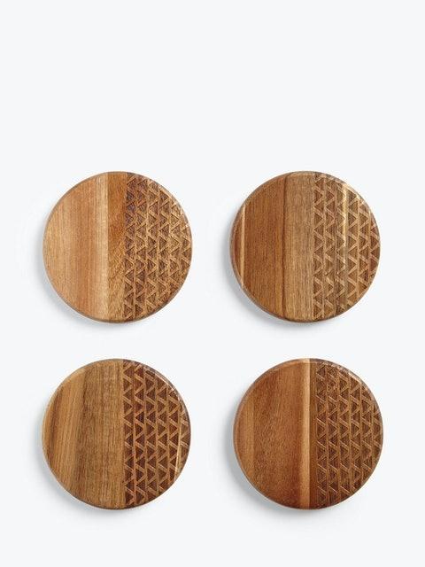 John Lewis & Partners Fusion Pattern Round Acacia Wood Coasters 1