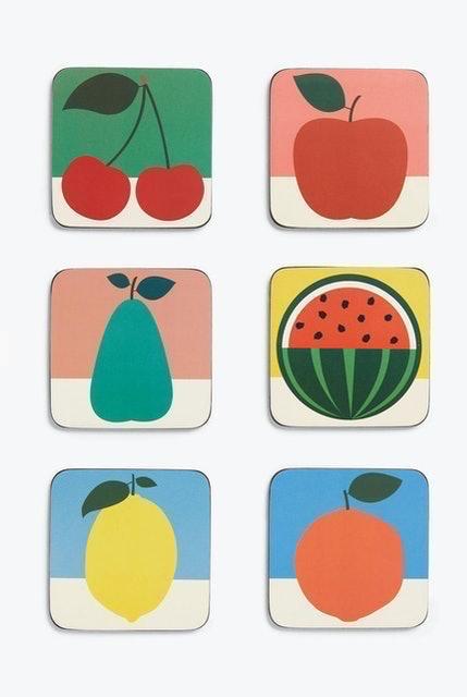EAST END PRINTS  Cork Backed Fruit Design Coasters 1