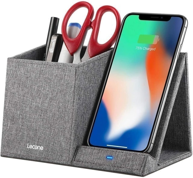 Lecone Wireless Charger with Desk Organiser 1