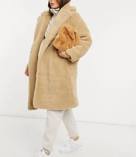 New Look Maternity Longline Teddy Borg Coat 1