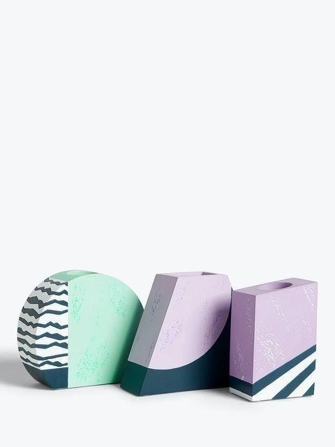 John Lewis & Partners Geometric Concrete Vases - Set of 3 1