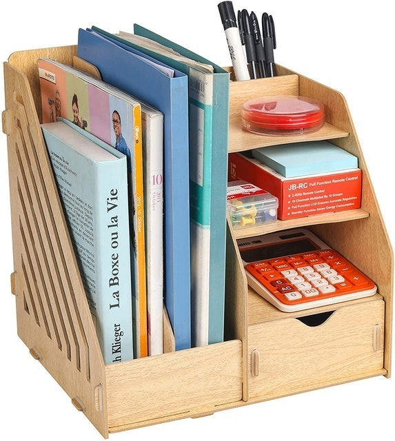 Homjoy Multifunctional Wooden Desk Organiser 1