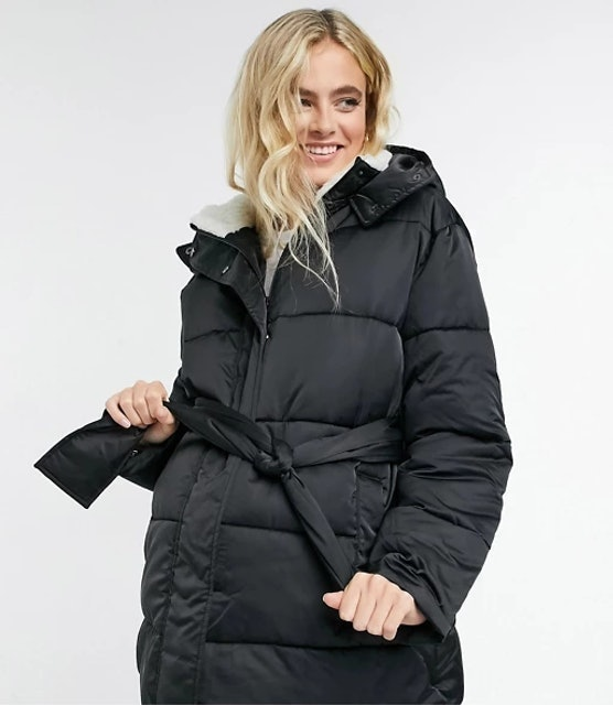 ASOS Design Maternity sateen belted puffer jacket 1