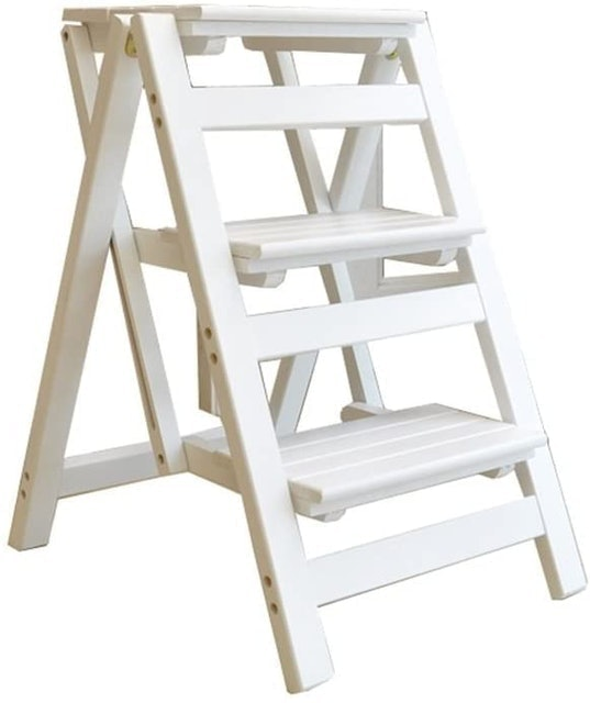 JHome-Stepladders Solid Wood 3 Step Ladder - White 1