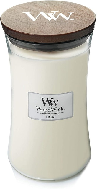 WoodWick Crackle Jar Linen Candle  1