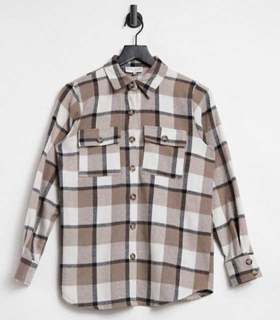 In The Style Exclusive Oversized Check Shirt in Cream 1
