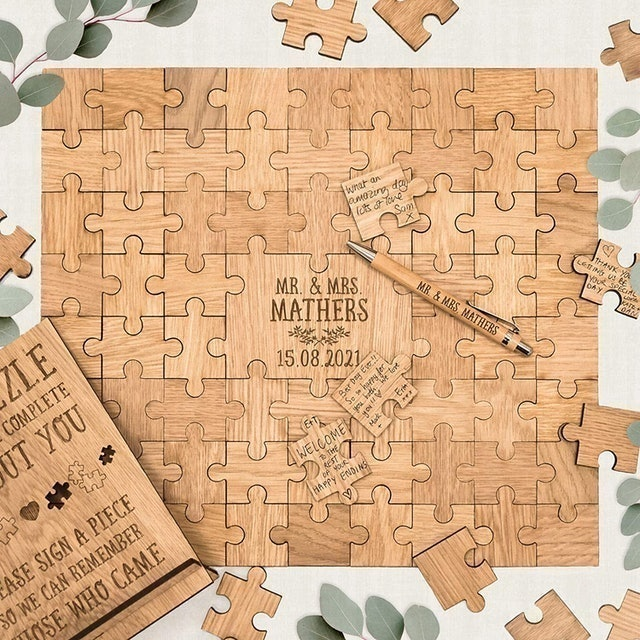 Manta Makes Store Wooden Wedding Jigsaw Puzzle Guest Book 1