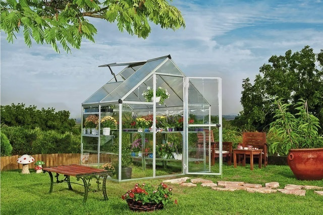 Argos  Silver Aluminium 6 x 4 ft Hybrid Greenhouse 1