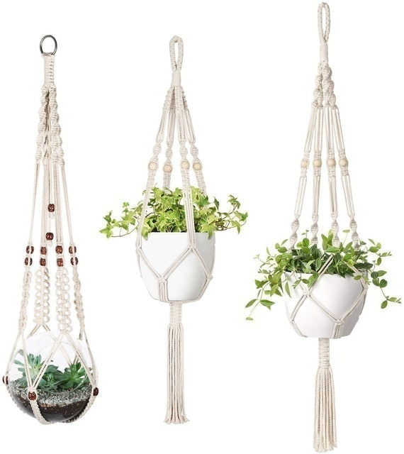 Mkouo Set of 3 Macramé Plant Hangers  1