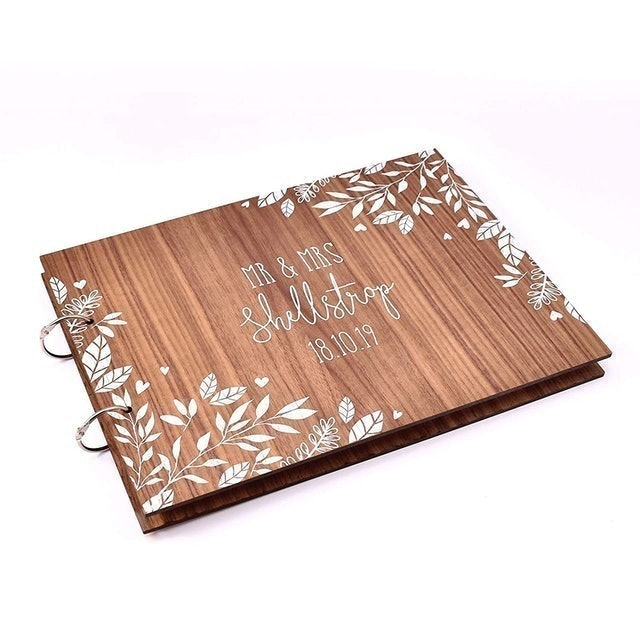 Manta Makes White Leaf Personalised Wedding Day Guest Book 1