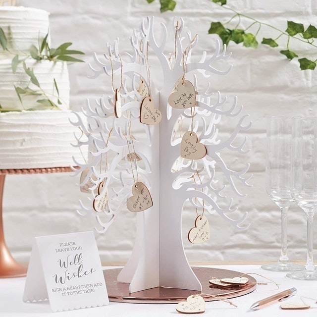 Ginger Ray Wooden Wedding Guest Book Tree with Stand 1
