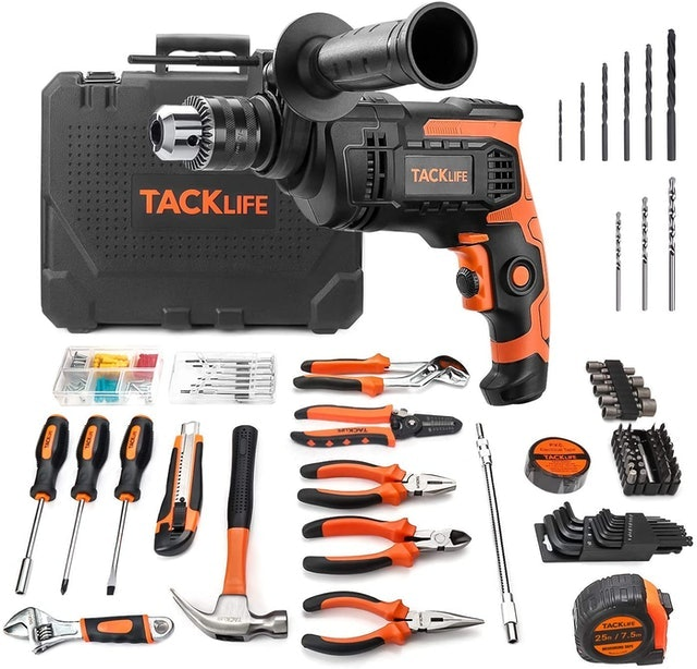 Tacklife 145-Piece Home Tool Set With Hammer Drill 1