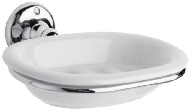 Milano Elizabeth Traditional Wall Mounted Ceramic Soap Dish and Chrome Holder 1