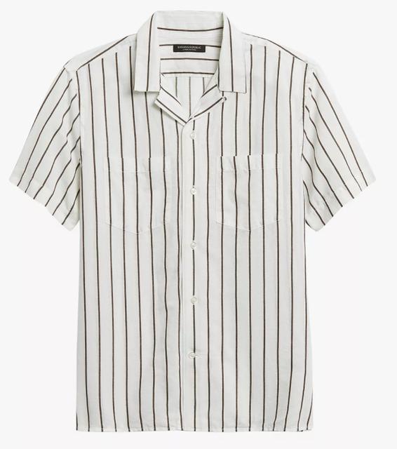 Banana Republic Camp Collar Striped Linen Shirt 1