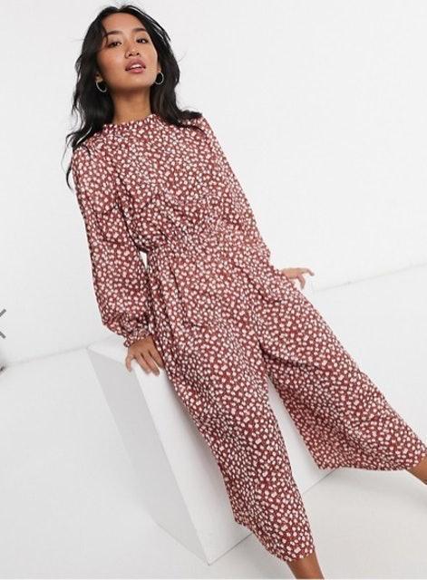 Asos Design High Neck Long Sleeve Jumpsuit in Floral 1