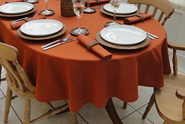 The Tablecloth Company Terracotta Oval Tablecloth 1