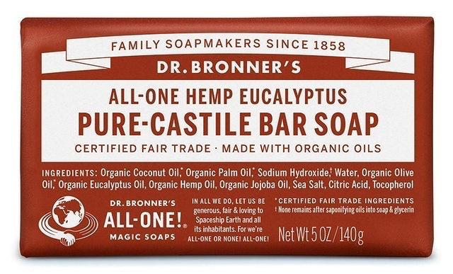Dr Bronner's  All-One Pure Castile Hemp and Eucalyptus Soap Bar 1