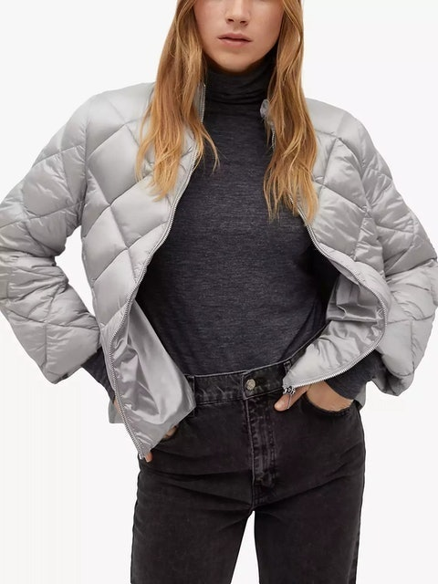 Mango Side Zip Quilted Jacket 1