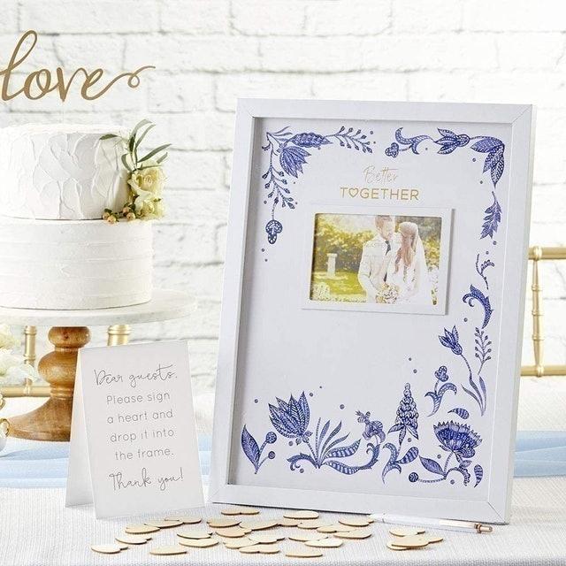 Kate Aspen Blue Willow Alternative Wedding Guest Book Message Frame 1
