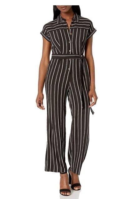 Calvin Klein Short Sleeve Button Front Jumpsuit 1