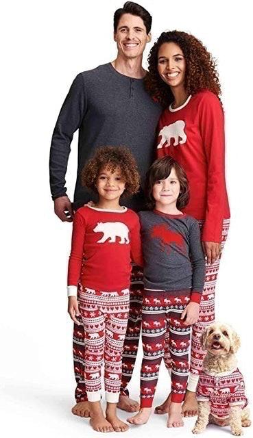 Little Blue House by Hatley  Fair Isle Bear & Moose Family Pyjamas 1
